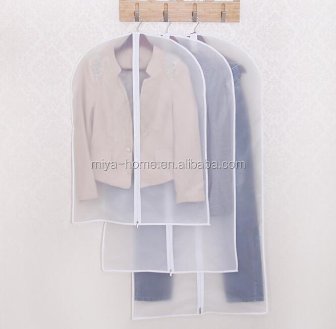 Household coat transparent waterproof garment bag / clothing dust cover with zippping / storage clothes hanging  suit pocket