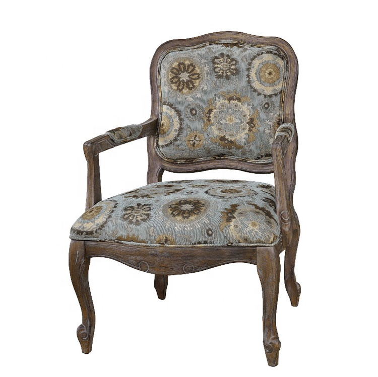 Home Hotel Living Room French Style Wood Upholstered Armrest Antique Chairs