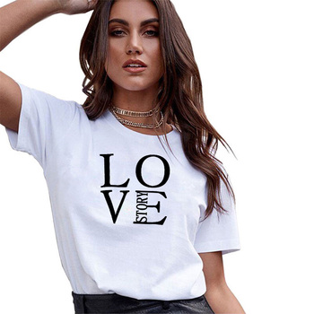 Love Story Xs-Xxk Casual Women T Shirt Print Letter Plus Size Female Tshirt Funny Streetwear Oversize Tee Shirt Short Sleeve Tee