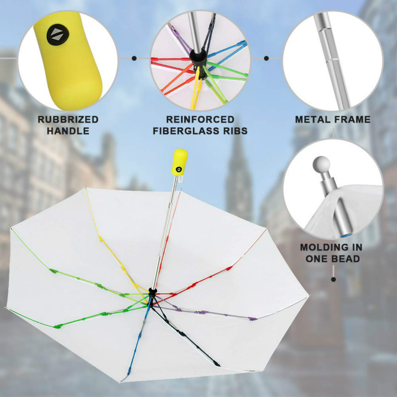 Windproof Travel Umbrella Automatic Large Rain Folding Compact Umbrella Portable with Auto Open/Close Button White