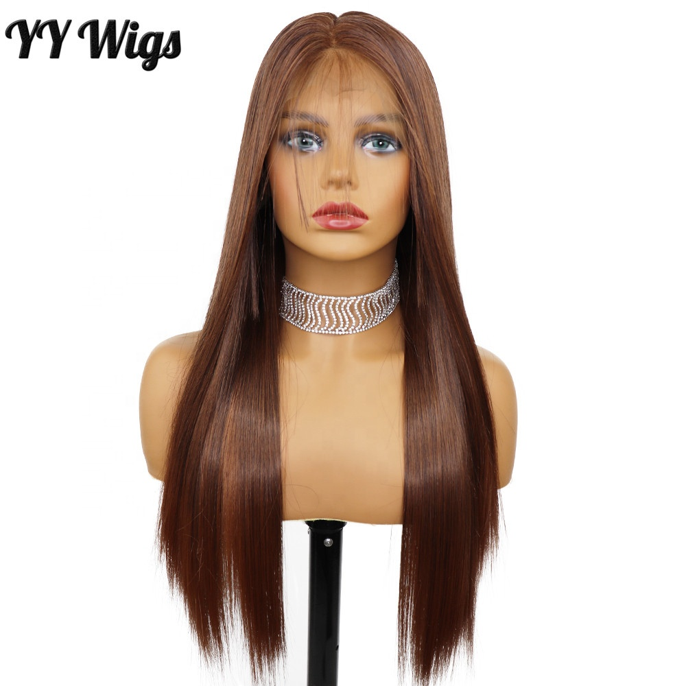 Well Selling <strong>Full</strong> <strong>Lace</strong> Silky Straight Highlighths Brown Futura <strong>Synthetic</strong> <strong>Wigs</strong> for Women