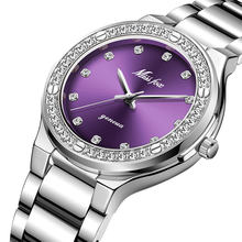 Женские часы MISSFOX, повседневные водонепроницаемые аналоговые часы из нержавеющей стали с бриллиантом(China)