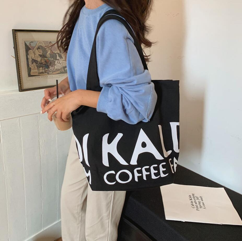 New style cloth bag Japanese  women's canvas bag letter cotton padded shoulder bag