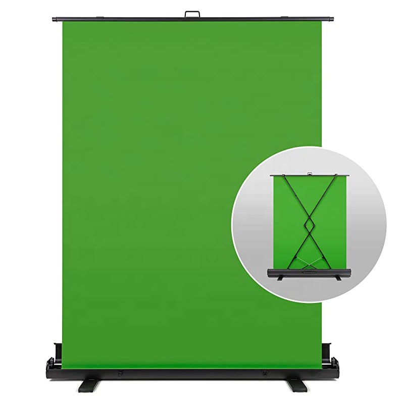 Retractable Green Screen Backdrop Collapsible Photography Backdrop Chromakey Green Background