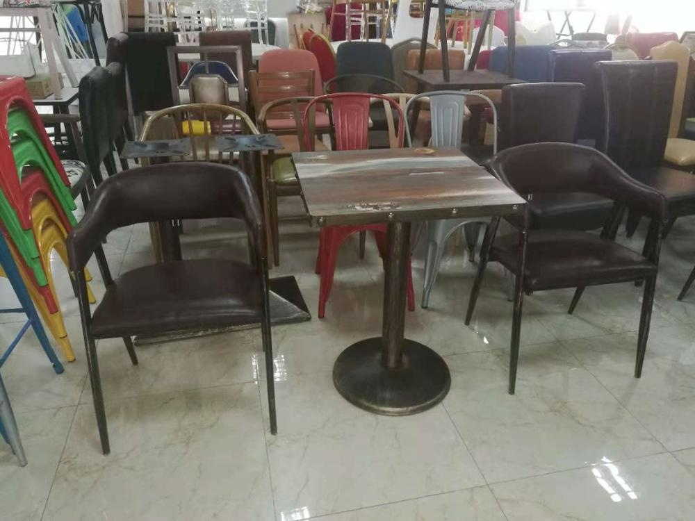 Modern reception soft padded coffee shop table and chair