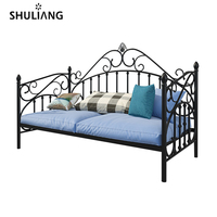 morden smart small models single iron metal frame sofa bed furniture set with sofa mattress