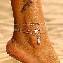 Женские богемные сандалии со звездами, жемчужинами и кисточками, многослойные сандалии на цепочке, летние пляжные украшения(Китай)