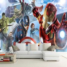 Jointless пользовательские 3D Капитан Америка Мстители мальчики спальня фото обои Marvel Comics Детская комната дизайн интерьера украшения(Китай)
