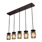 Rectangle Black Metal Glass Shade Lamps Home Decor Ceiling Pendant Lighting for Dining Table