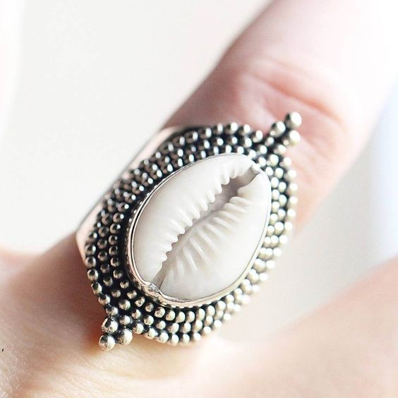 New design fashion jewelry plating  925 silver bohemia natural shell starfish ring for women