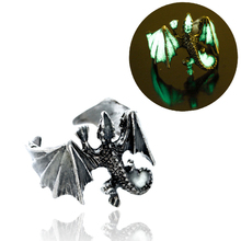 Mode Luminous Drachen Ring Glow In Dark Pterosaur Ringe Finger Ring Gold Silber Einstellbar Mann Hand Schmuck