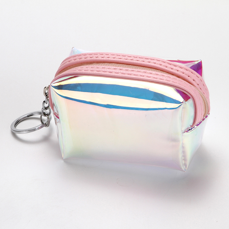 Travel makeup storage bag laser wallet small clear purse bags