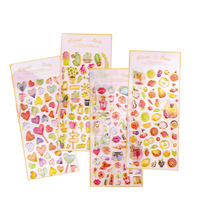 3D Cake Fruit Bread Lipstick Design Transparent Crystal Phone Epoxy Resin Stickers