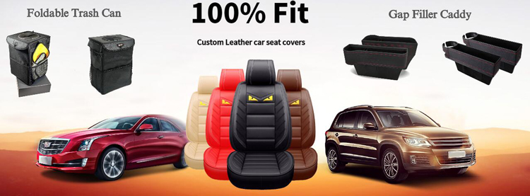 Blue collapsible and portable oxford auto car headrest hanging garbage storage trash can with plastic bag hook