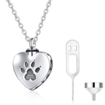 Cremation Jewelry Dog Puppy Paw Urn Necklace S925 Sterling Silver Urn Necklace for Ashes Keepsake Jewelry