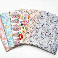 Floral Leaf Twill Pure Cotton Cloth Making Fluorescent Agent Make Baby Bed Cover Clothing Fabric