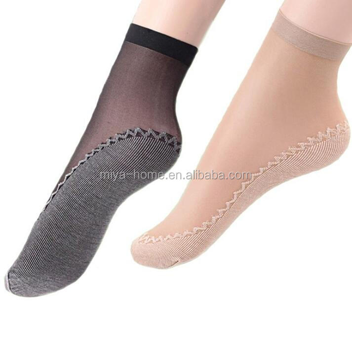 Sexy ladies thin mesh silk socks / lace transparent anti slip short socks / women soft bottom breathable ankle stockings