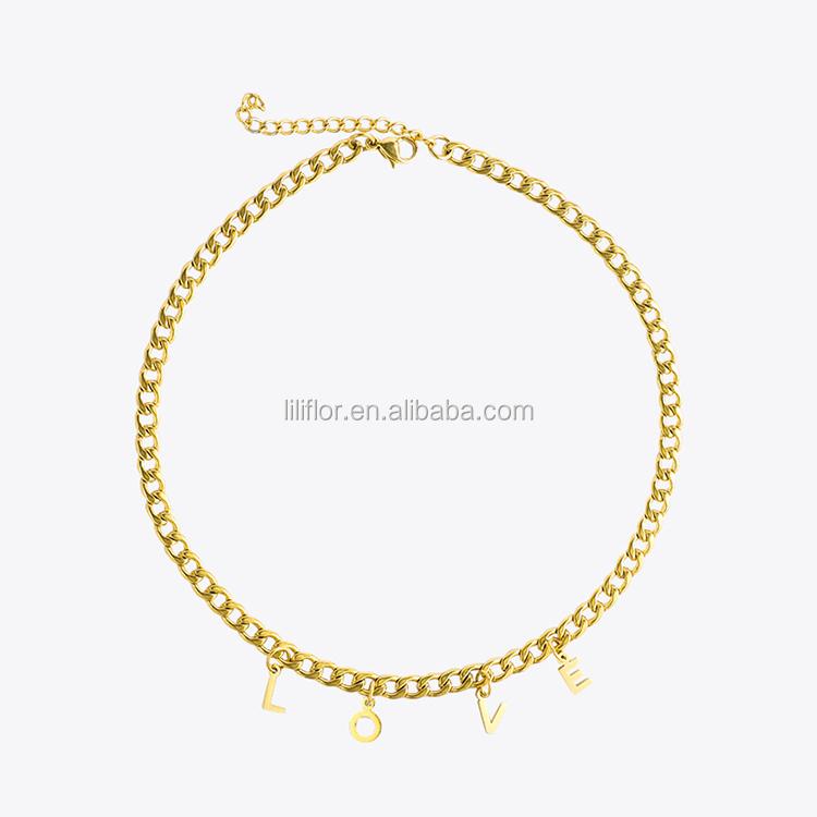 De alta calidad de joyería de moda chapado en oro de acero inoxidable carta de amor COLLAR COLGANTE cadena P193021