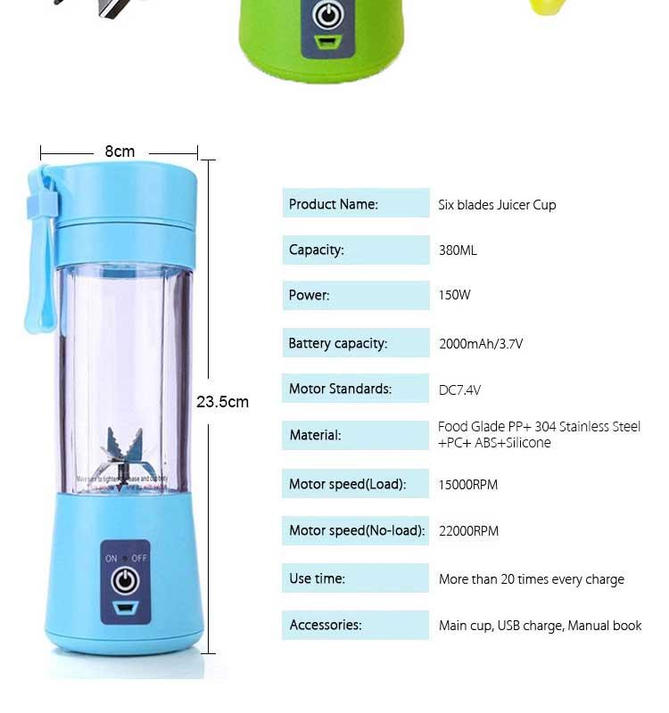 Amazon Hot Sale Personal Blender Portable Travel USB Fruit Blender cup