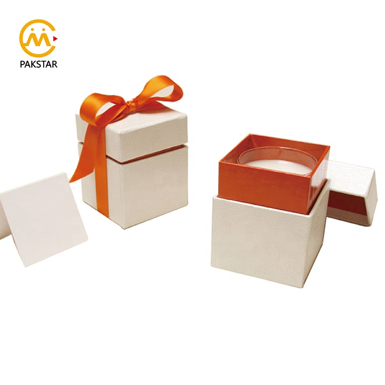 Customized luxury rigid cardboard white gift packaging box for candle jar