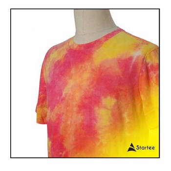 Premium Eco-friendly Custom short sleeve printing Tie dye 100% Cotton Fabric shirts for men with various sizes