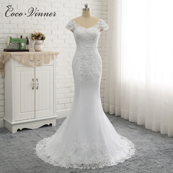 2020 Short Sleeve Wedding Gown Bride Vestido De Noiva White Backless Lace Mermaid Wedding Dress
