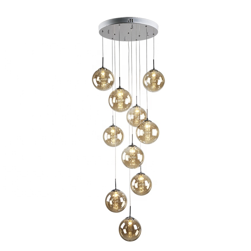 Italian Villa orb Glass Stairs Pendant Hanging Light <strong>Spiral</strong> long Hanging <strong>lamps</strong> Modern Glass Staircase Chandelier for Villa Home