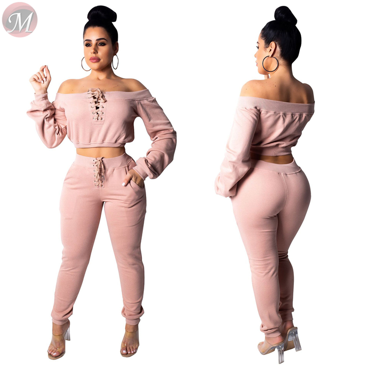 9120504 new solid hoodie crop top eyelet band casual suit Pant Sets Two Piece Set Women Clothing