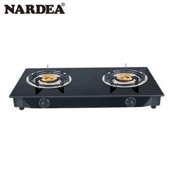 Large Kitchen Universal Table Sleek 2 Burner Heater Glass Gas Stove