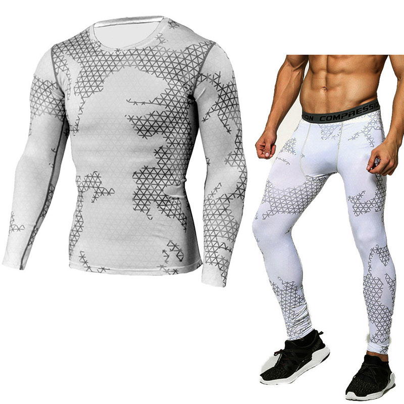Winter Thermal Underwear Set Men's Sportswear Running Training Warm Base Layer Compression Tights Jogging Suit