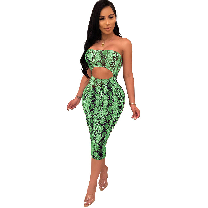 LE-19101532 Wholesale women summer dress strapless hollow out snake skin print tube top ladies sexy fashion bodycon midi dress