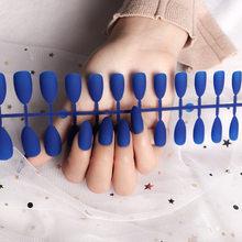 24 шт, матовые накладные ногти, черные ногти, длинные ногти, удлиненные кончики для ногтей, искусство для ногтей, натуральные съемные дизайне...(Китай)