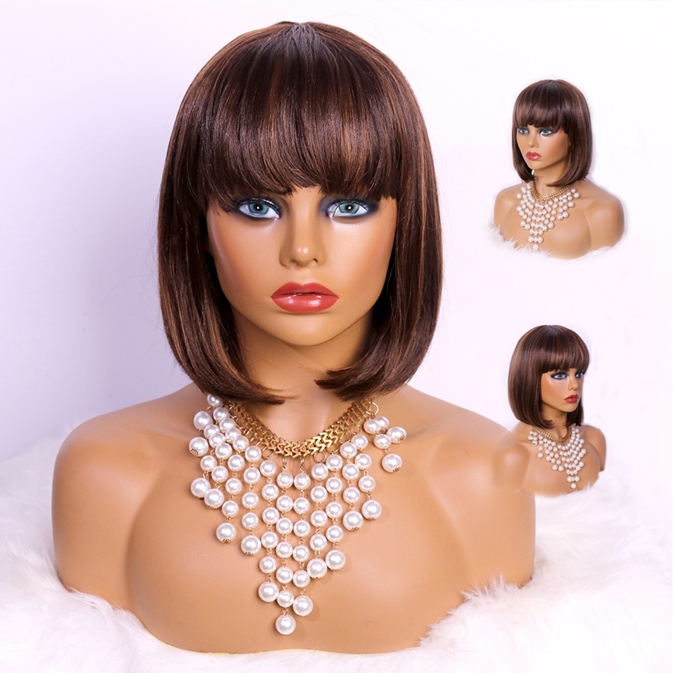 Brown Highlight Short Bob with Bangs <strong>Synthetic</strong> <strong>Wig</strong> Glueless Heat Resistant Hair Cosplay Colorful Lace <strong>Wig</strong> 2020 Amazon Sale
