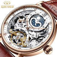 KINYUED stainless steel luxury leather waterproof quartz oem brand hands wristwatches custom logo wrist mens watch