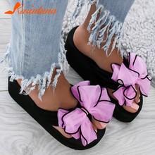 Karinluna/2020; Брендовые Вьетнамки для отдыха с милым бантом; Летняя женская обувь на платформе; Модные шлепанцы; Большие размеры 42(Китай)