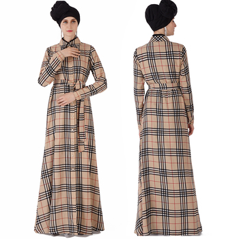 F105 dubai abaya 2019 plaid pattern muslim formal dress abaya fashion muslim blouse long shirts muslim women