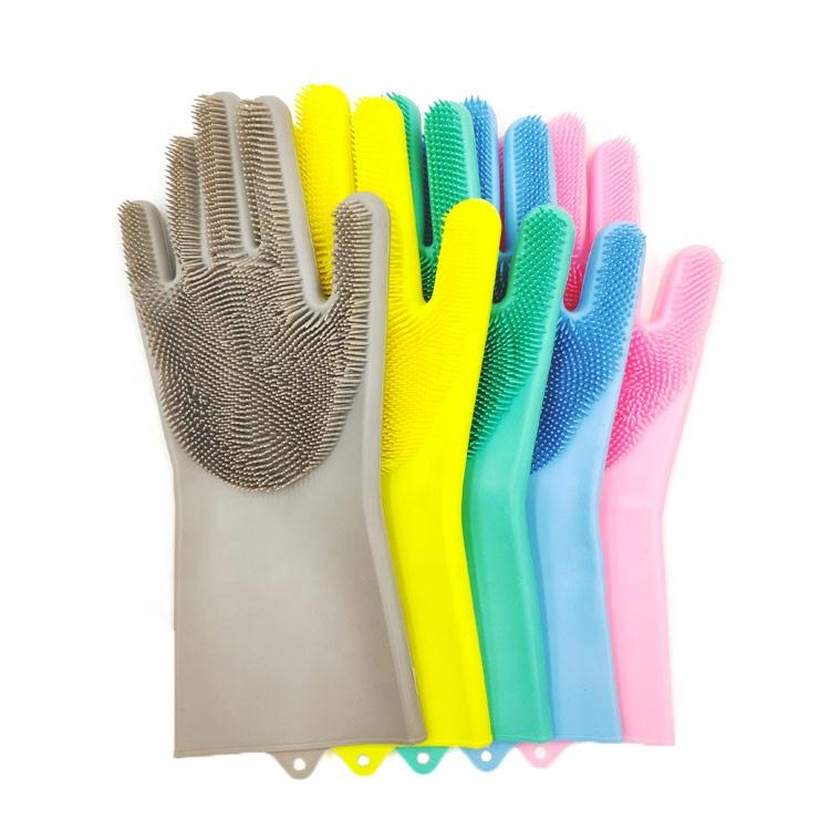 สินค้าใหม่ไอเดีย2019 BPAฟรีครัวทำความสะอาดขัดนำมาใช้ใหม่ซิลิโคนถุงมือล้างจาน