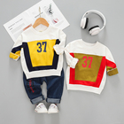 2019 long sleeve round neck tshirt denim pant two pieces one year old baby clothes twin clothing sets chinese costume for boys
