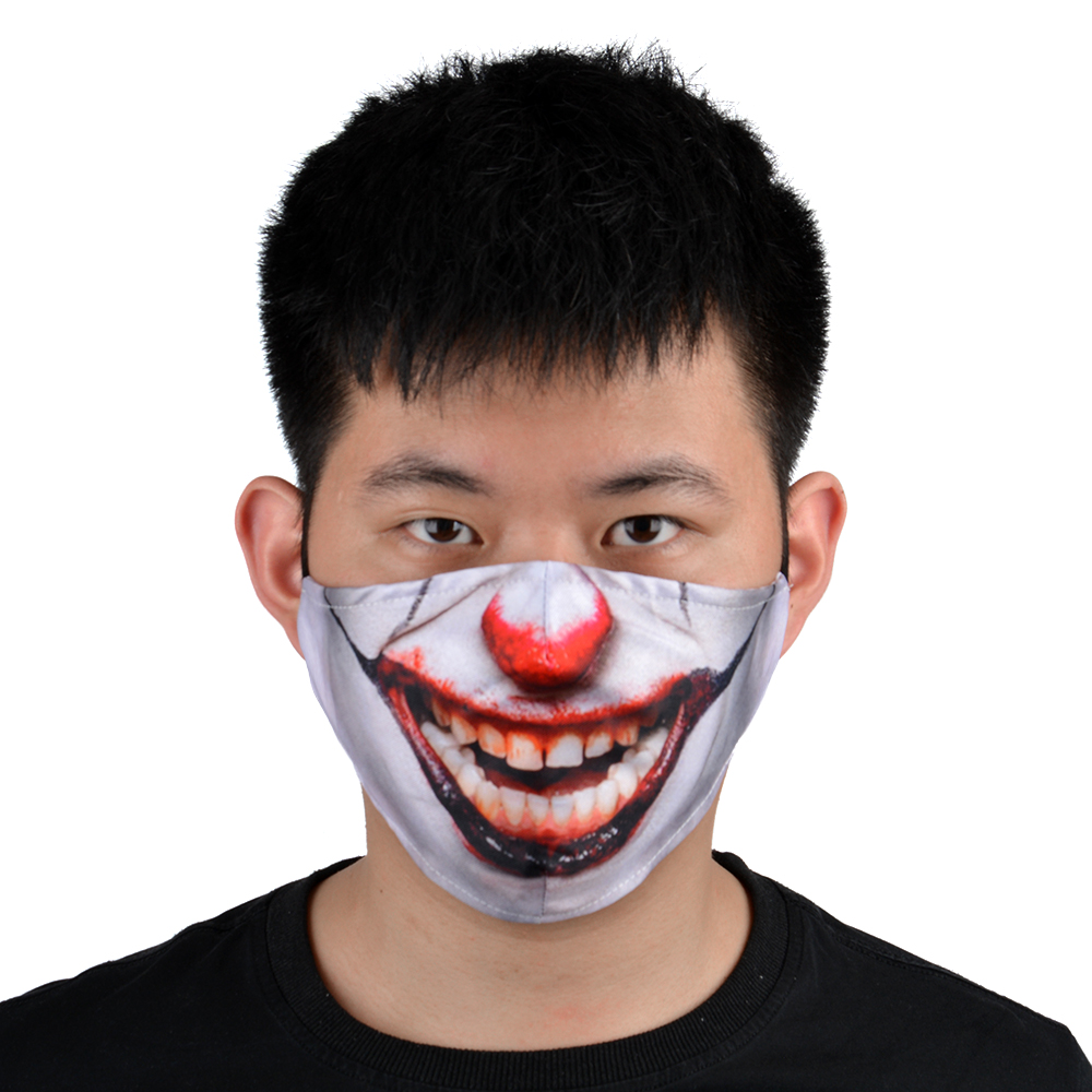 Stock Hot Personalized 3D Animal HD Printing Dust Proof <strong>Custom</strong> Printed Designer polyester <strong>Halloween</strong> Party Mouth Face <strong>Mask</strong>