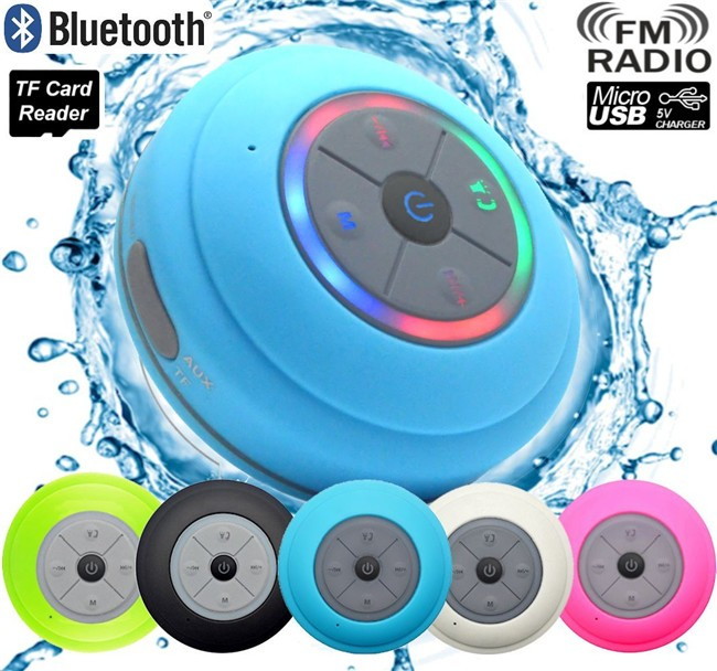 Mini Draagbare Draadloze Subwoofer Car Handsfree Ontvang Call Music Zuig LED Licht Douche Waterdichte Bluetooth Speaker