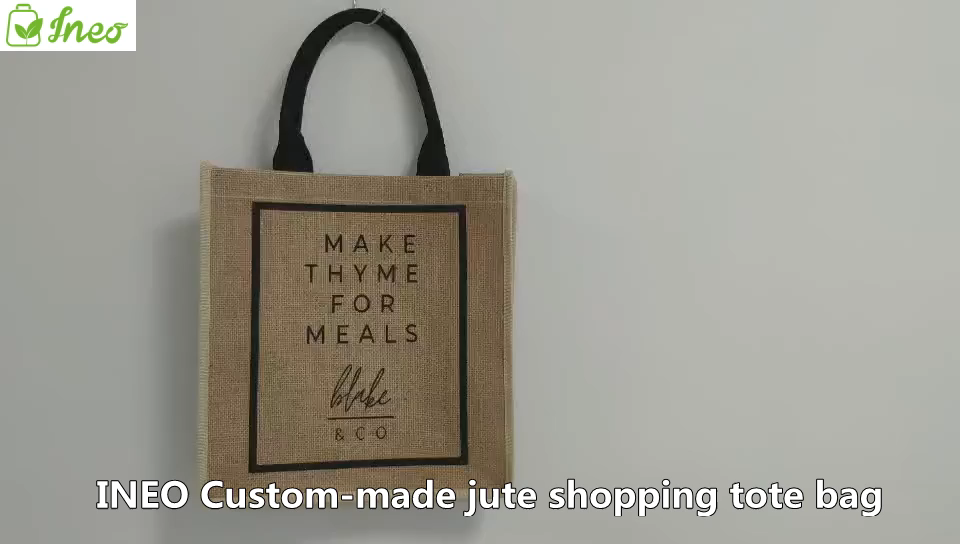 Natural burlap eco friendly tote bags reusable jute shopping bag