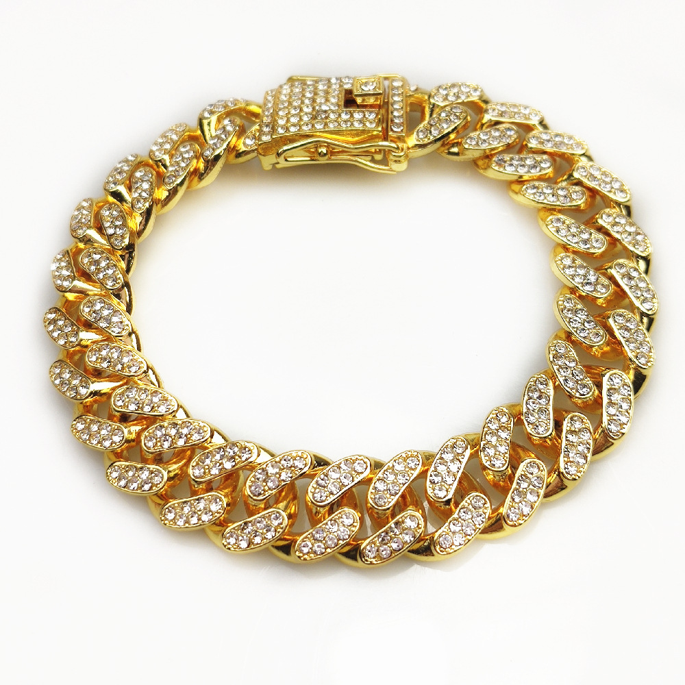 12mm Wide Hip Hop Womens Mens Iced Out Jewelry Diamond Cuban Link Pave Full Chain Cubic Zirconia CZ Bracelet