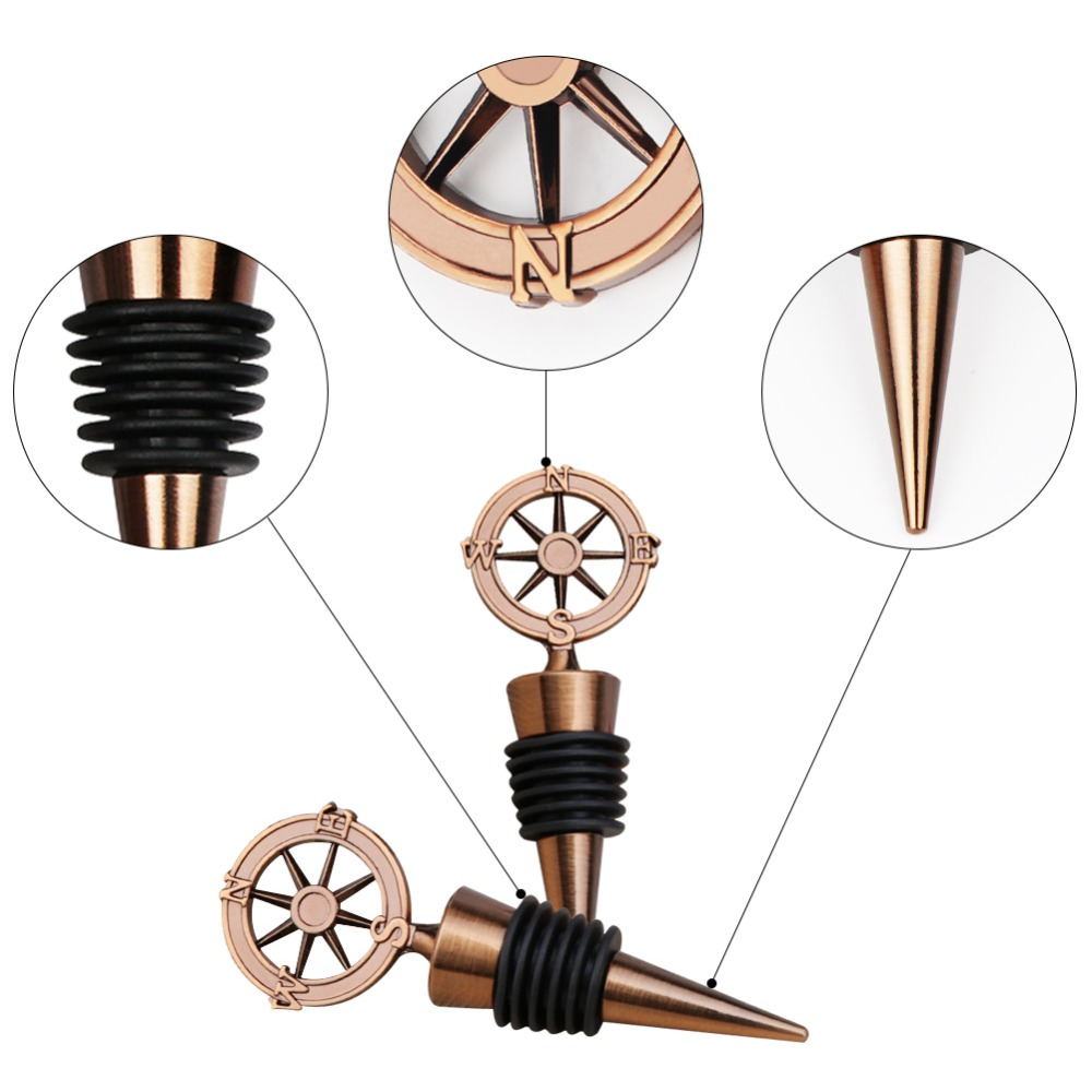 Ywbeyond Antique Gold Rudder Compass Wine Wine Stopper for Travel Theme Wedding Favors and Gifts Souvenirs