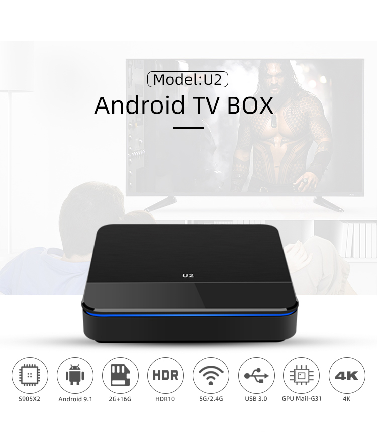 U2 Android 9.0 DDR4 Amlogic S905X2 TV BOX Quad Core Dual Wifi H.265 4K Media Player Smart Box