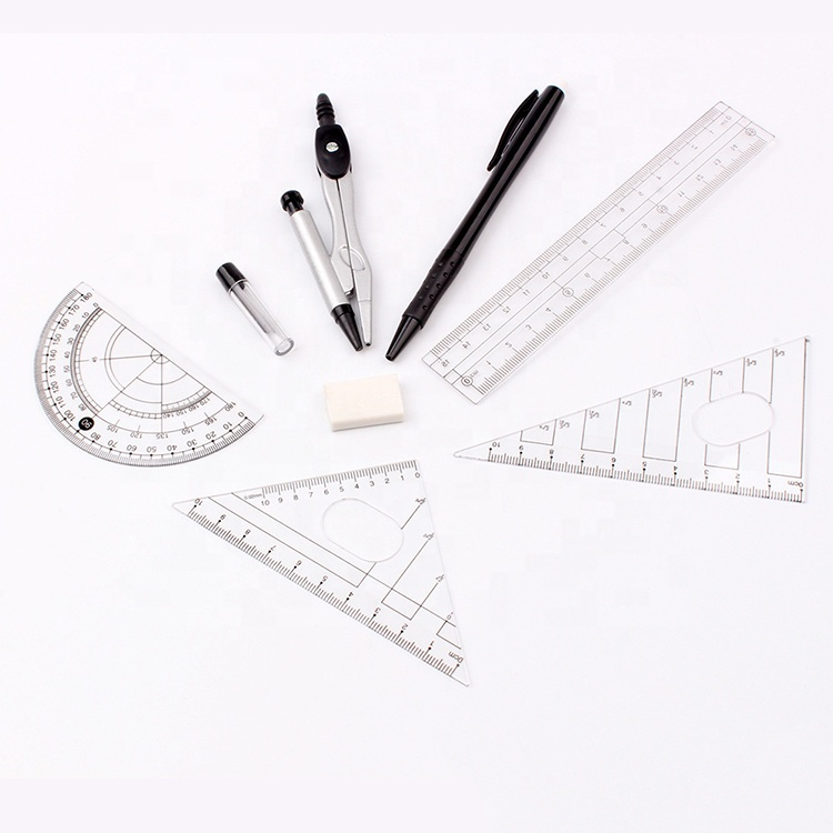 Ruler Set Compass Math Set Mathematical Instruments kits Packaging back to school stationery student math tools office supplies