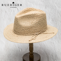 High Quality Men Flat Brim Beach Natural Grass Color Raffia Straw Sun Hat