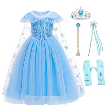 Kids Costumes Princess Elsa Dresses Anna Girls Dresses Carnival Party Halloween Costumes for Kids Girls Elsa Set