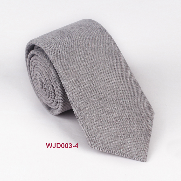Varouis Color Fashion Cotton Solid Ties Satin Woven Black Necktie Men