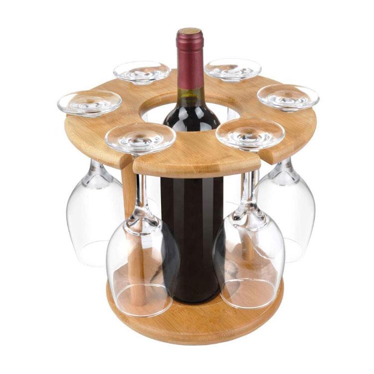 Wine Bottle Holder Bamboo Glass Hanging Drying Stand Bamboo Wine Holder 9
