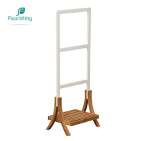 Eco-Friendly Balcony Natural Bamboo Stand Bathroom Ladder Towel Rack